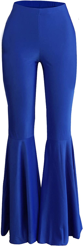 JanJean Women Cotton Slim Fit Ruffle Flare Pants Casual Legging Pants Bell Bottom Trousers