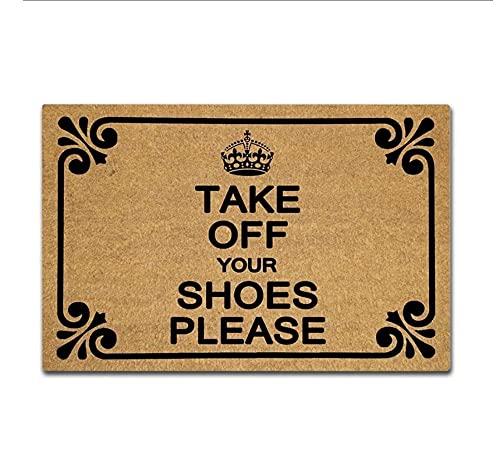 Felpudo de entrada, divertido felpudo – Quítate los zapatos por favor alfombra de puerta para uso en interiores y exteriores, tela no tejida