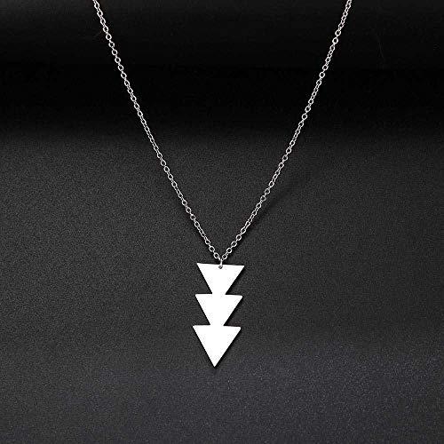 maofan Dames Hanger Ketting, Stijlvolle Geometrische Lange Ketting, Roestvrij Stalen Ketting 45 cm/Zilveren
