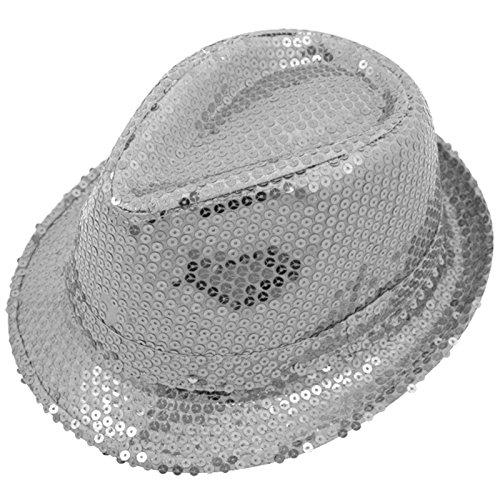 Unisex Fedora Trilby sombrero de lentejuelas disfraz de Gangster con purpurina Michael Jackson Cap