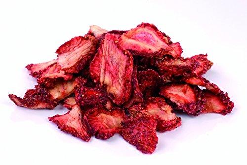 Bio Erdbeeren getrocknet 1kg Erdbeerscheiben und Stücke, sonnen-getrocknet (nicht gefriergetrocknet) ungesüßt, 100% Frucht, Rohkost 1000g