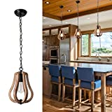 Wood & Metal Chandelier Fixture Antique Pendant Lamp Rustic Farmhouse Iron Wooden Chandelier Pendant Light Retro Ceiling Light Fixture for Kitchen Island 1XE26, UL Listed Wires, Medium1, by YIFI