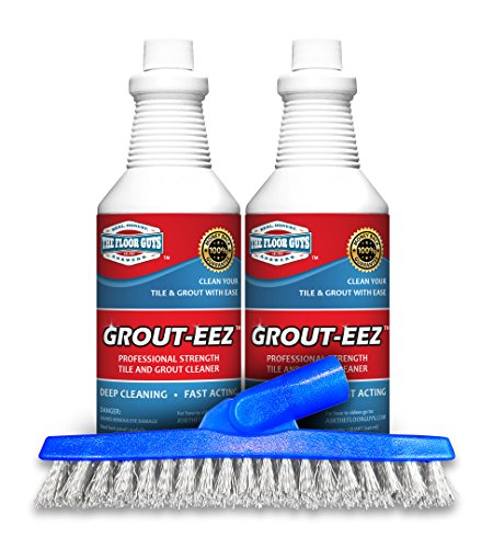 IT JUST WORKS! Grout-Eez Super Heavy Duty Tile & Grout Cleaner and whitener. Quickly Destroys Dirt & Grime. Safe For All Grout. Easy To Use. 2 Pack With FREE Stand-Up Brush. The Floor Guys