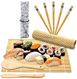 Exquisito Kit Para Hacer Sushi: Kit De Bambú Original Con 2 Tapetes Para Sushi + 1 Esparcidor De Arroz + 1 Paleta De Arroz + 5 Palillos De Sushi, Bolsa De Almacenamiento Y GuíA Para Principiantes Pdf,