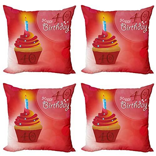 ABAKUHAUS 40 cumpleaños Set de 4 Fundas para Cojín, Magdalena Estrellas, Estampado Digital en Ambos Lados y Cremallera, 60 cm x 60 cm, Azul Naranja Rojo