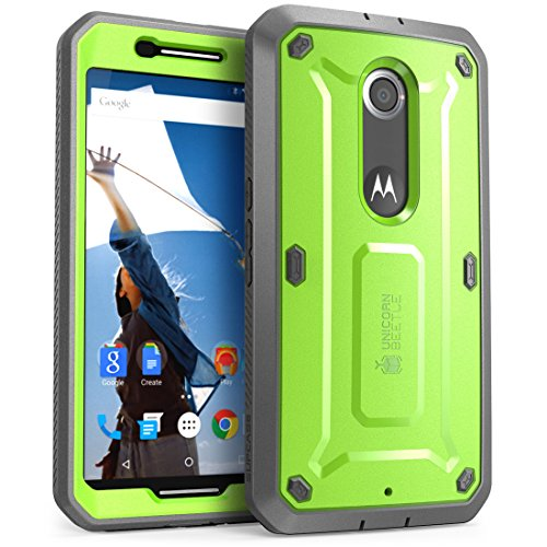 SupCase [Unicorn Beetle Pro Series] Case for Nexus 6 Case, [Heavy Duty] Belt Clip Holster Full-Body Rugged Hybrid Protective Cover with Built-in Screen Protector (Green)