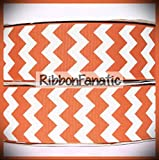 3 Yds 1.5' Texas Longhorn Burnt Orange and White Chevron Grosgrain Ribbon Lace Trim Embroidery Applique Fabric Delicate DIY Art Craft Supply for Scrapbooking Gift Wrapping