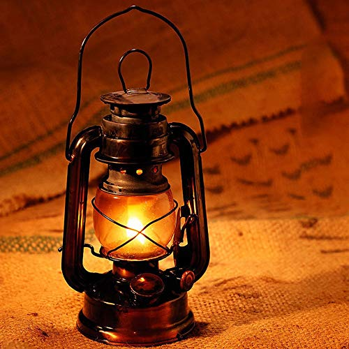 DULG Lámpara de queroseno vintage, linterna de caballo clásica retro, linternas de queroseno regulables, lámpara de tienda para acampar al aire libre, mecha de emergencia para acampar, luces portátile