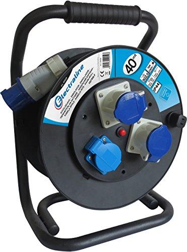 Energaline 49059, industriële kabelhaspel H07 RN-F 3G2,5 40 m kabel – IP44 outdoor/kabelrol met rubberen verlenging, 2 industriële stopcontacten 3-polige stekker geschikt + 1 veiligheidsstopcontact