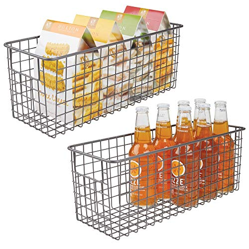 mDesign - Draadmand - organizer/bergruimte - draadgaas/landelijke stijl - voor keukenkastjes/voorraadkast/badkamer/wasruimte/bergkast/ggarage - metaal - 40,6 x 15,2 x 15,2 cm - verpakt per 2 stuks - pc grafiet