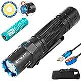 Olight M2R Pro Taschenlampe 1800 Lumen Neutrales Weiß LED USB Magnetische Wiederaufladbare Doppelschalter EDC Tragbare Taschenlampen, mit 21700 Akku und Batteriefach (Schwarz)