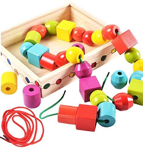 Lewo Billes de Laçage Perles de Cordage en Bois Jeu de Ficelles Jouets Géométriques Forme Perles pour Les Enfants Jouet éducatif avec boîte