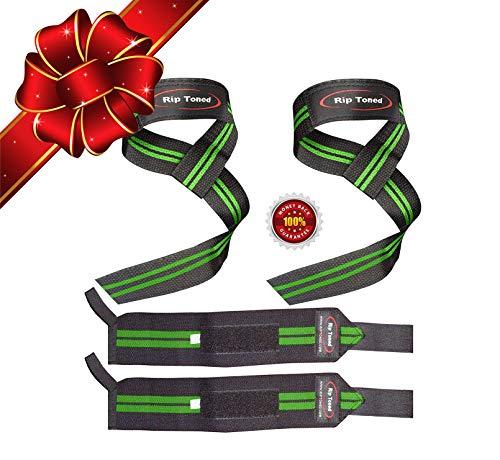 Rip Toned Zughilfen + Handgelenksbandagen Set (jeweils EIN Paar) Bonus Ebook für Gewichtheben, Crossfit, Training, Fitnessstudio, Powerlifting, Bodybuilding (Black/Green)