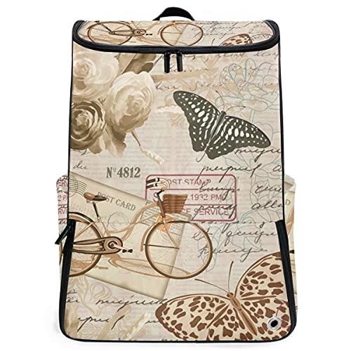 YUDILINSA Viaje Mochila,Fondo Vintage Transparente Rosas Mariposa Bicicleta,Universitaria Mochila,Laptop Backpack con Compartimento para zapatos