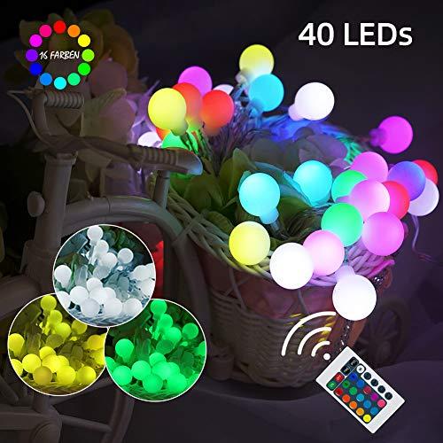 16 Farben Globe Lichterkette USB & Batteriebetriebene mit Fernbedienung, 4 Modi Wasserdicht, Bunte Kugel Lichterketten für Outdoor Dekor Party Terrasse Hof Schlafzimmer Geburtstag (6m 40 LEDs)