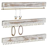 MyGift Rustic Whitewashed Wood 3-Piece Wall-Mounted Jewelry Rack Set for Hanging Earrings, Rings and Long Necklaces