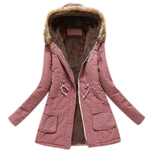 Minetom Damen Winterantel Wattierter Parka Coat mit Pelzkapuze Winterparka Warme Lang Winter Mäntel Outdoorjacke Outwear Dunkelpink DE 36