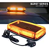 Xprite COB LED Amber Rooftop Strobe Beacon Lights w/Magnetic Base 19 Flashing Pattern, Safety Warning Caution Light for Emergency Construction Vehicles Snowplow Trucks Postal Mail Cars