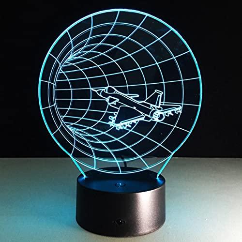 Lámpara De Noche Led Con Forma De Avión De Tiempo De Efecto 3D Único Con Lámpara De Mesa Usb Para Decoración De Dormitorio De Niños Lámpara De Bulbo De Avión