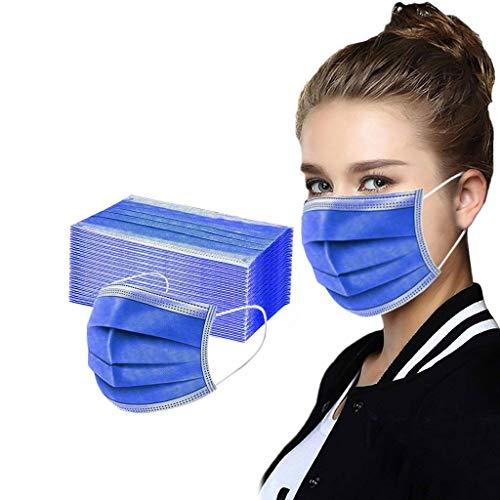 BBring 50 Stück Einweg Mundschutz für Erwachsene Mund Nasen Abdeckung Einweg 3-lagig Staubdicht Atmungsaktiv Mund und Nasenschutz Halstuch T699 2689 (Blau-A)