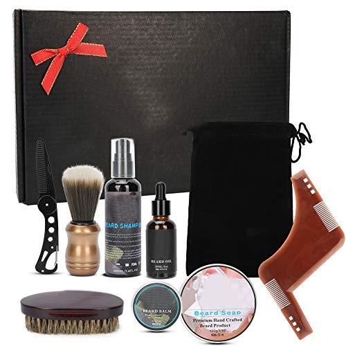Kit de cuidado de barba, herramienta de peinado de barba Nutre la barba Contiene champú de barba Peine de cuchillo de aceite, etc