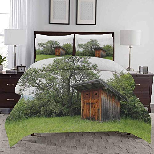 Outhouse Duvet Cover Set Queen/King Size Wooden Little Hut Barn Shed Cottage in Nature Forest Image with Zipper Closure Ultra Soft Comfy Decorative 3 Piece Bedding Set with 2 Pillow Shams