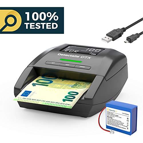 Detectalia D7X - Geldscheinprüfgerät Wiederaufladbarer Akku inklusive und USB-Kabel