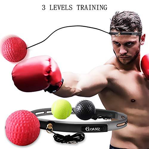 GOAMZ Reflex Ball Boxe Boxing Palla Allenamento Boxe Veloce Fight Ball Palla Elastica Boxe con Fasce Fascia per Capelli Riflessa da Uomo,Donna,Bambino