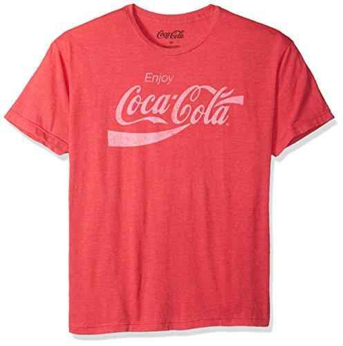 Coca-Cola Mens Enjoy Coca-Cola Classic Logo Vintage Look T-shirt, Red Heather, Large