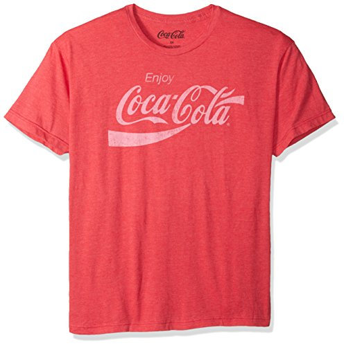 Coca-Cola Mens Enjoy Coca-Cola Classic Logo Vintage Look T-shirt, Red Heather, Small