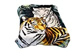 Hiyoko Wild Animal Tiger Blanket, TV, Cabin, Couch, Plush, Warm, Safari Throw, Full Queen, 75' w x 90' h, Silky Mink Cozy, for Girls, Boys