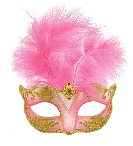 Fancy Me femmes noir rouge rose bleu violet Masquerade MARDI GRAS Festival Costume déguisement Carnaval Plume Masque - Rose clair, One size