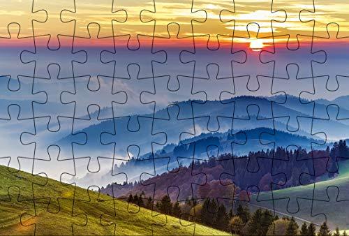 Puzzle-Postkarte Schwarzwald 2: Motiv: Schwarzwald Landschaft mit Nebel in Abendstimmung (Kultur erleben im GMEINER-Verlag)