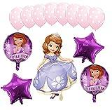 Generisch Juego de globos de princesa Sofia para cumpleaños infantiles, 13 piezas, temática de princesa Sofía, globos de princesa, decoración para fiestas temáticas