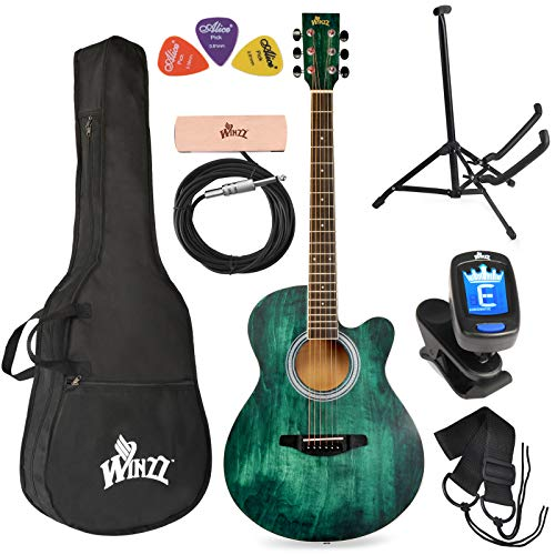WINZZ 40 Inches Cutaway Acoustic Guitar Beginner Starter Bundle with Padded Bag, Stand, Tuner, Pickup, Strap, Picks, Dark Hunter Green