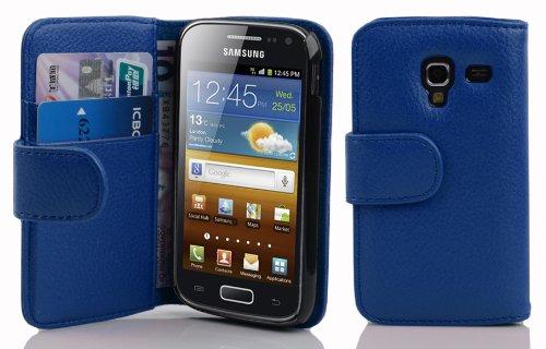 Cadorabo Custodia Libro per Samsung Galaxy Ace 2 in Blu Marina - con Vani di Carte e Funzione Stand di Similpelle Strutturata - Portafoglio Cover Case Wallet Book Etui Protezione