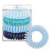 Kitsch Spiral Hair Ties, Coil Hair Ties, Phone Cord Hair Ties, Hair Coils - 4 Pcs, Denim