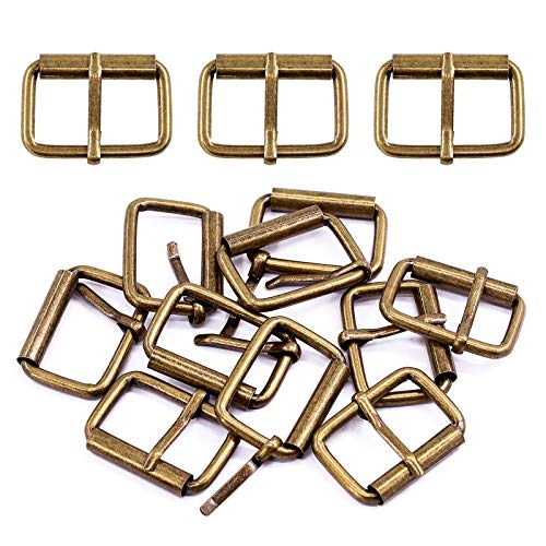 Swpeet 60Pcs Heavy Duty 5/4 Inch - 32mm Bronze Multi-Purpose Metal Roller Buckles Metal Rings for Belts Hardware Bags Ring Hand DIY Accessories Keychains Belts and Dog Leash (Bronze, 5/4 Inch)