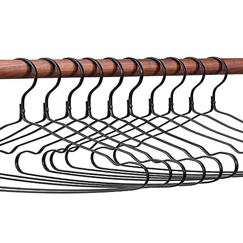 SänHahn Perchas para Abrigos de Metal, 10 Piezas Percha de Aluminio, para Trajes, Camisetas, Chaquetas, Faldas, Blusas, Vestidos, Tops, Recubrimiento antioxidante, Antideslizante con Muescas, Negro