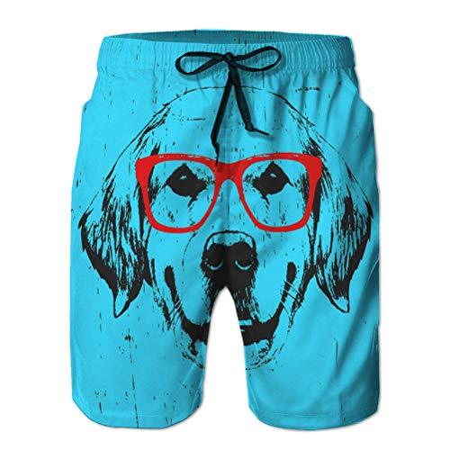 vbndfghjd 159 Shorts Casuales para Hombre Bañador de Playa Shorts de Playa Retrato Golden Retriever gla