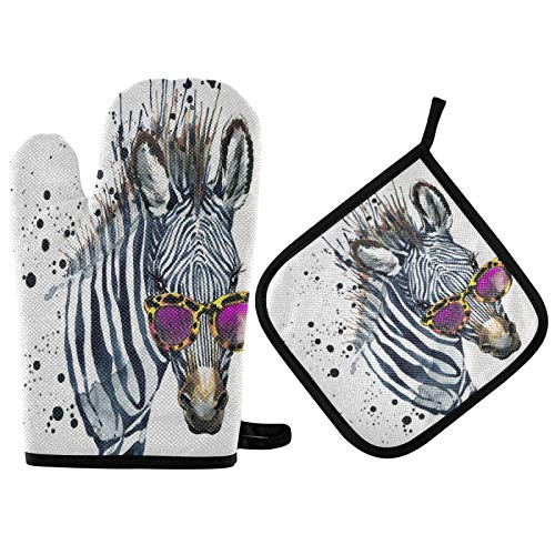 Ombra Oven Mitt Pot Holder Set Watercolor Zebra Heat Resistant Quilted Oven Glove Kitchen Hot Pad for Cooking Grilling Christmas Machine Washable