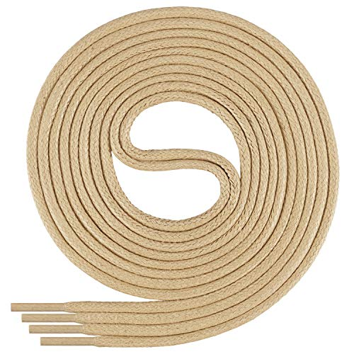 Di Ficchiano DF-SW-03-beige-190 gewachste runde Schnürsenkel, Schuband, Laces, Durchmesser 2-4 mm für Businessschuhe, Anzugschuhe und Lederschuhe