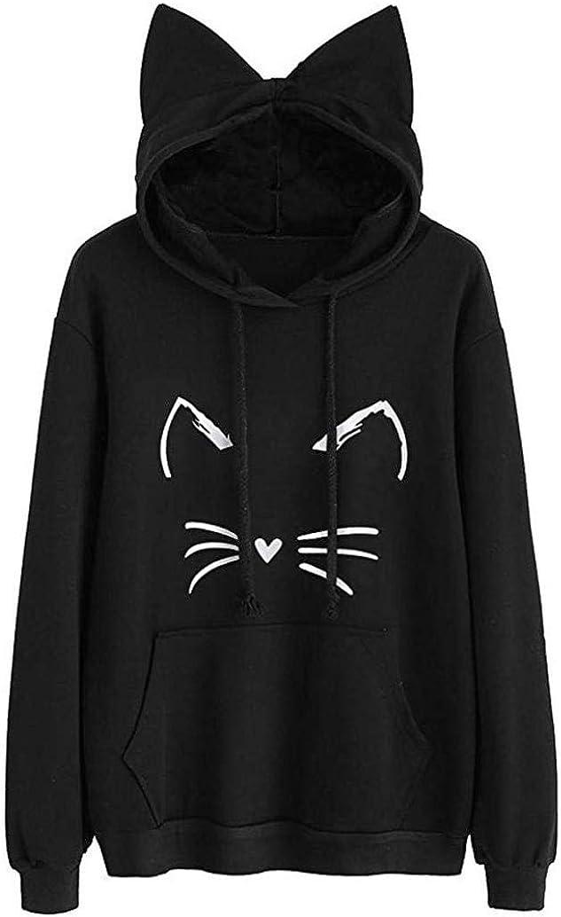 Hemlock Teen Girls Hoodies Cat Ear Hooded Sweater Coats Long Sleeve Hooded Sweatshirt Blouse Womens Pullover Outwear
