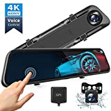 "VanTop H612T 12"" 4K Mirror Dash Cam for Cars, Voice Control Full Touch Screen Rear View Mirror Camera, GPS Tracking, Waterproof Backup Camera 2.5K Max, 8MP Sony Sensor for Super Night Vision"