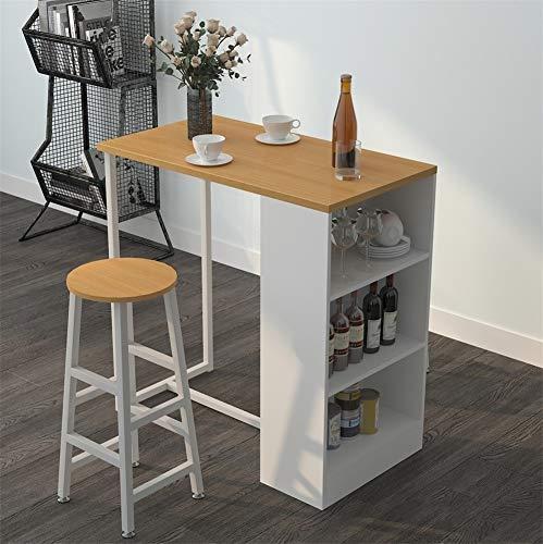 SogesFurniture Mesa de bar de cocina, mesa de desayuno, mesa de café con marco de metal blanco y estante de almacenamiento de 3 niveles para estante de bebidas, BHEU-GCBG1022