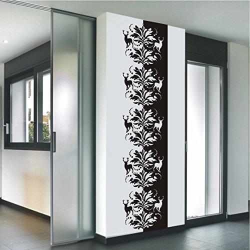 HomeTattoo ® WANDTATTOO Wandaufkleber Banner Barock Ranke Blumen Hirsche Ornamente 509 XL ( L x B ) ca. 180 x 40 cm (gelb 021)