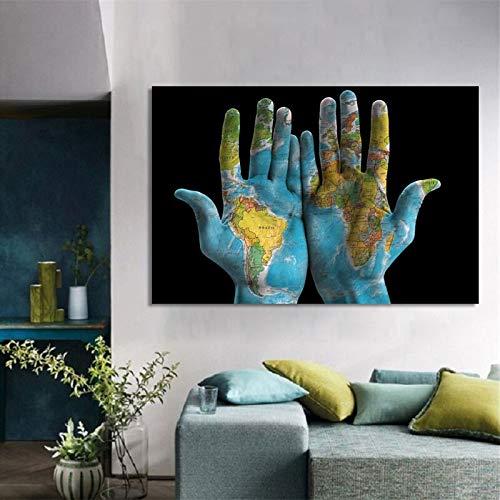 oioiu Carteles Pintados a Mano y Lienzo de Arte Mural en el Mapa del Mundo Creativo en la Sala de Estar Dormitorio Pasillo decoración del hogar Mural sin Marco