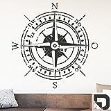 DESIGNSCAPE® Wandtattoo Himmelsrichtungen | Wandtattoo Kompass 58 x 58 cm (Breite x Höhe) dunkelgrau DW807374-S-F7