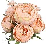 XIUER Bouquet de fleurs artificielles vintage - Pivoines artificielles - Décoration de maison, mariage