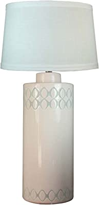 """Fangio Lighting W-8866 Table Lamp, 28"""", Peppermint Crackle Circle 2Top & 1 Bottom W/Black Stain"""